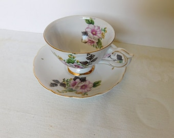 Trimont Japan pink yellow flower cup and saucer VGU (112A)