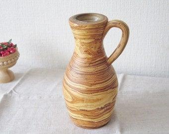 Vintage Birch Bark Vase, Layered Birch Bark Vase with handle, Birch Bark Covered Glass Vase Handmade Rustic Country Cottage Home Decor @133