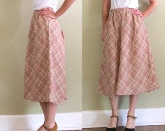 50's Tea Rose High Waist Plaid Midi Skirt