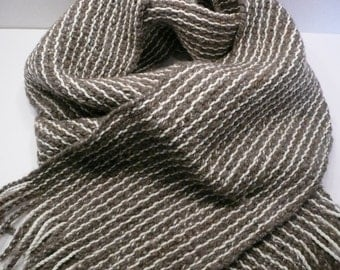 Woven Scarves - Gray and white scarf, Grey and white scarf, Striped scarf, Wool scarf, Hand woven scarf