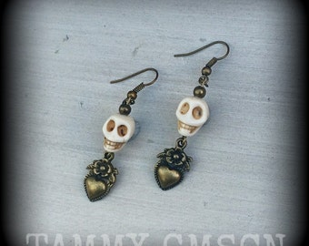 Voodoo Loa 'Erzulie' Bone White Howlite Stone Skull and Antique Bronze heart charm earrings for pierced ears or stretched lobes 0g 2g 4g 6g