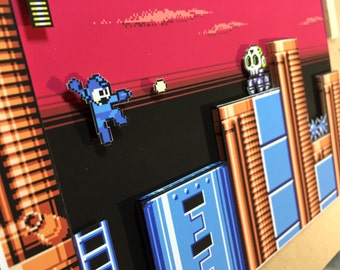 "Mega Man 6 Diorama / Shadowbox (framed artwork) NES ""Tomahawk Man"""