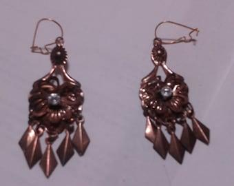 Antique chandelier rhinestone drop earrings.  Vintage rhinestone earrings.aged bronze petina