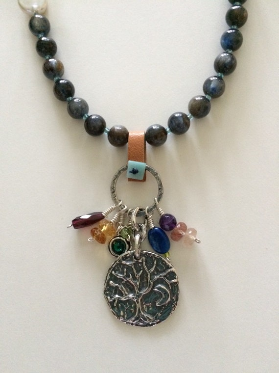 Silver Pendant with Charms Necklace