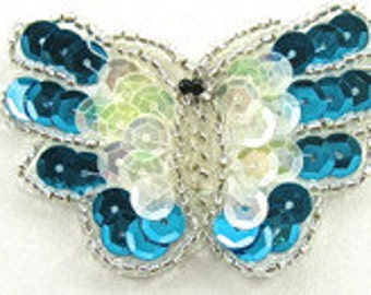"Sale! Choice of Color Butterfly, Sequin Beaded, 2"" x 2""  -Turquoise-5208, Pink-5209-0020"