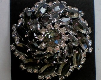 Stunning Smoky Gray and Clear Rhinestone Domed Brooch - 4830