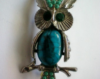 Faux Turquoise Jelly Belly Owl Pin - 4452