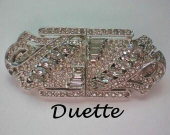 Art Deco Duette Rhinestone Fur Clip & Brooch - 4600