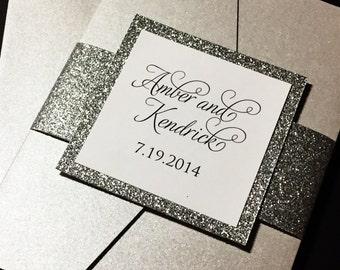 Pocketfold Wedding Invitation, Elegant Wedding Invitation, Black and White Wedding Invitations, Calligraphy Wedding Invitations, Glitter