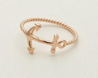 Anchor Ring - Gold Ring size 6.5 - Small Anchor Gold Ring - Rope Ring - Nautical Ring - Rockabilly Ring - Pin Up Sailor Gift Sailor Jerry