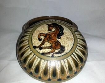 Rare Dybdahl Denmark / Scandinavia  bonbonniere with  figurative horse motif from 1977.