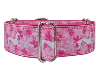 Snowhounds adjustable martingale collar, greyhound collar, whippet collar, satin lining. Made to order.