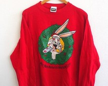BIG SALE 25% Vintage 90's Bugs BUNNY Christmas Kissing Cartoon Pullover Crewneck Cotton Red Sweatshirt Sweater Size L