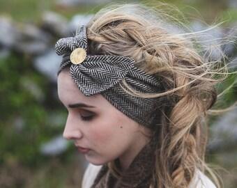 Headband Tweed, Head accessorie, Irish coin, Celtic, Folk, Accessorie, Retro Couture, Mori-Kei, Traditional headband, Tweed Headband. Dandy