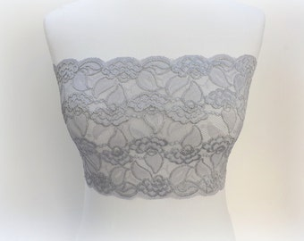 Steel gray lace bandeau top. Elastic lace strapless. Sheer lace tube top. Lace lingerie. Gray bra. Wireless bra. Lace top. Gray lingerie.