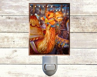 Newborn Night Light - Camel- New Orleans art -  Handmade - Copper Foiled - Childrens room - Nursery Art - Lighting -