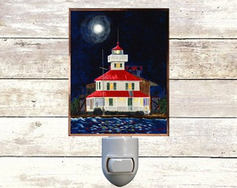 "Night Light, ""Canal Basin Lighthouse"", New Orleans Icons,  Handmade, Copper Foiled"