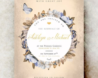 Fall Wedding Invitation - wedding invitation suite, country wedding invitation, printable wedding invitation, winter wedding