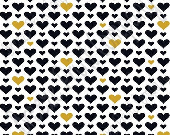 White with black and gold heart craft  vinyl sheet - HTV or Adhesive Vinyl -  Valentine's Day HTV3925