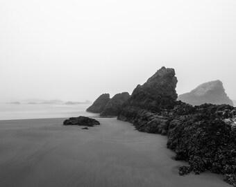 Oregon Coast Landscape Photograph, Beach Photo, Pacific Northwest, Black & White Photograph, Seal Rock Oregon, Pacific Ocean, Wall Decor Art