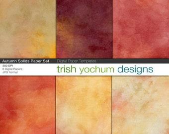 Watercolor Digital Paper - Watercolour Autumn scrapbook, colored Fall backgrounds, Digital Scrapbooking, Printable, 12x12, Instant Download