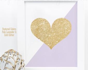 Gold Glitter Heart Print - Lavender Purple Gold Nursery Decor, Girls Room Wall Art, Baby Shower Decor, Dorm Room Art, Makeup Vanity Art