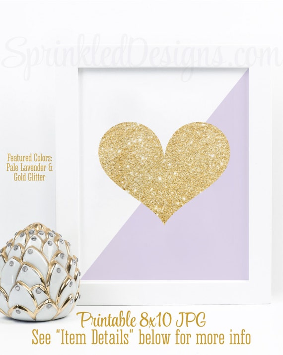 Gold Glitter Heart Print - Lavender Purple Gold Nursery Decor, Girls ...