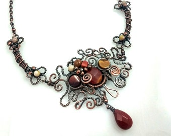 Organic Design Statement Necklace, Artisan Made, Copper and Moukaite, Belle Armoire Jewelry, Bold Jewelry, Vivid Colors, Unique, Whimsical