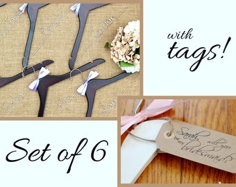 Set of 6 Personalized Bridal Hangers with Tags, Custom Hanger, Wedding Party Hangers, Bridesmaid Gift, Bride Hanger, Mrs Hanger