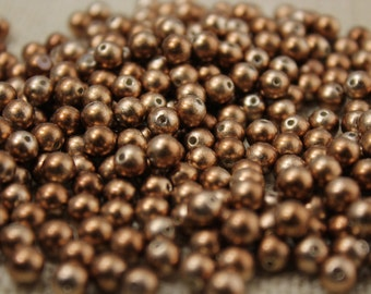 Vintage 6mm Copper Pearl Beads (48 Pieces)