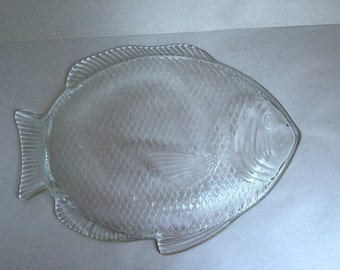 Oven proof clear pressed glass fish serving cooking platter USA made