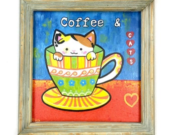 Cat Painting, coffee house art, coffee mug, cat canvas, pop art acrylic painting, cat lady art, gift for her, cat lovers, wall decoration