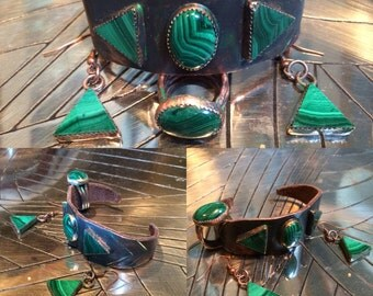 Copper and Malachite set