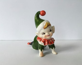 Vintage Pixie Figurine, Chippy Pixie, Red and Green Pixie