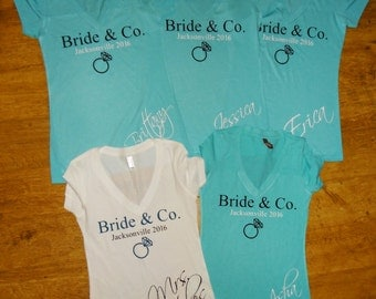 Bachelorette Party Shirts Bride & Co bridal wedding party Inspired Custom bride maid matron of honor bridesmaid