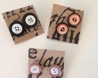 Repurposed Vintage Button Post Earrings