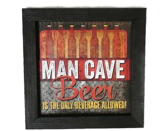 Beer, Man Cave, Bar Decor, Beer Lovers Sign, Art Print, Wall Hanging, Craft Beer Sign, Handmade, 7X7, Real Wood Frame, Made in the USA