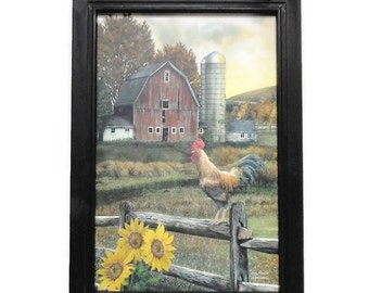 Early Rooster, Barn and Sunflowers Picture, Art Print, Country Decor, Farmhouse Decor, Handmade, 21X15, Custom Wood Frame, Made in the USA