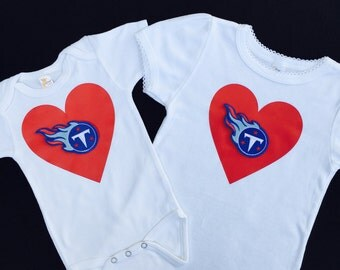 Tennessee Titans heart onesie - Tennessee Titans shirt - Tennessee Titans onesie - Titans Baby  - Titans infant bodysuit