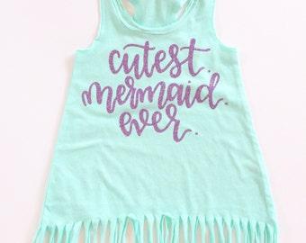 Mermaid birthday, Cutest Mermaid ever toddler fringe dress, Mermaid outfit, mermaid birthday party, christmas present