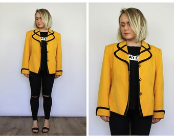 Vintage 1980's Yellow and Black Blazer Jacket 16 18 20 L XL UK Seller