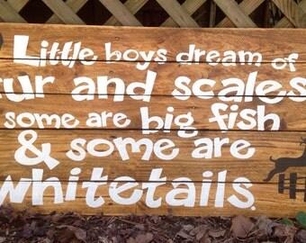 Baby Boy Art, Nursery Art, Little Boys, Hunter, Fishing Decor, Lake Lodge Art, Reclaimed Wood Sign