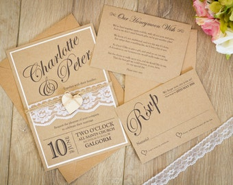 rustic wedding invitation vintage wedding invitation shabby chic invitation lace wedding invitation - Wedding Invitations Vintage