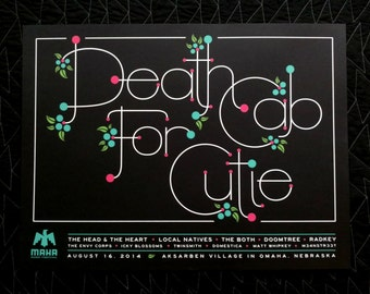 Death Cab For Cutie screen printed poster - 18 x 24""