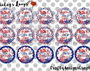 Happy Fourth Of July, 4th, Independence Day, Firework, Red White & Blue, Cute Bottle Cap Images