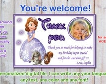 Sophia the first thank you card, Sofia the first thank you card, princess sophia thank you card- Digital file