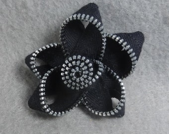 Black Zipper Flower Pin / Brooch