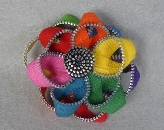 Rainbow Flower Brooch - Upcycled - Recycled - Repurposed - Flower Brooch - Zipper Brooch - Zipper Pin - Zipper Flower - Flower Pin - Jewelry