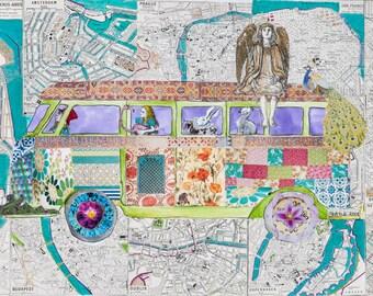 Travels in Wonderland  mixed media collage Art Campervan Alice in wonderland GicleePrint