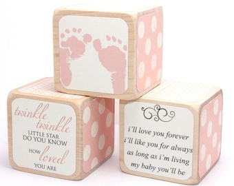 Shabby Chic Baby Shower Decor - Wood Blocks - Baby Blocks - Girl - Twinkle Twinkle - Personalized Blocks - 2 Inch